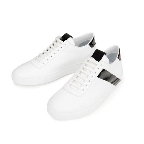 Striped Court Sneakers // White + Black (Euro: 39)