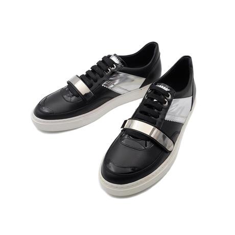 Velcro Closure Panel Sneakers // Black + Silver (Euro: 39)