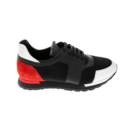 Leather Sneakers // Black + Red (Euro: 39)