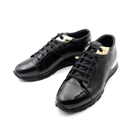 Crocodile Embossed Metallic Sneakers // Black (Euro: 39)