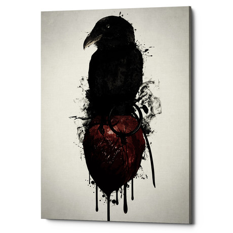 """Raven and Heart Grenade (18""""W x 26""""H x 0.75""""D)"""