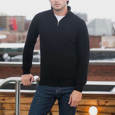 Lambswool Quarter-Zip Pullover Sweater // Black (S)