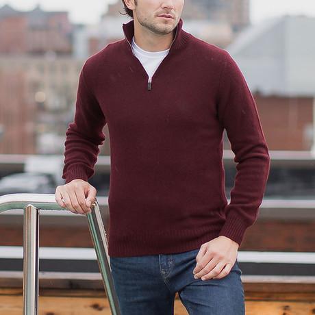 Lambswool Quarter-Zip Pullover Sweater // Port (S)