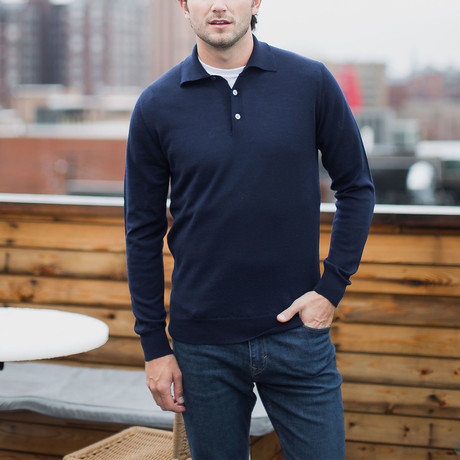 Long Sleeve Merino Wool Polo Sweater // Navy (S)