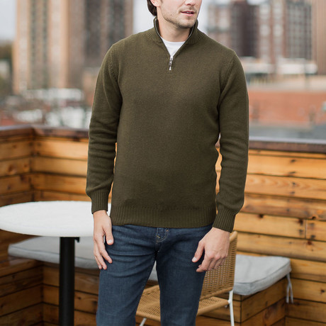 Lambswool Quarter-Zip Pullover Sweater // Military Green (S)