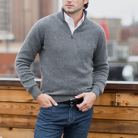 Lambswool Quarter-Zip Pullover Sweater // Gray (S)