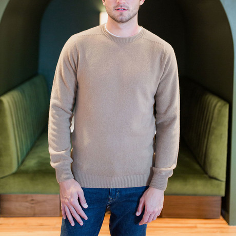 Cashmere-Wool Blend Crew Neck Sweater // Camel (S)