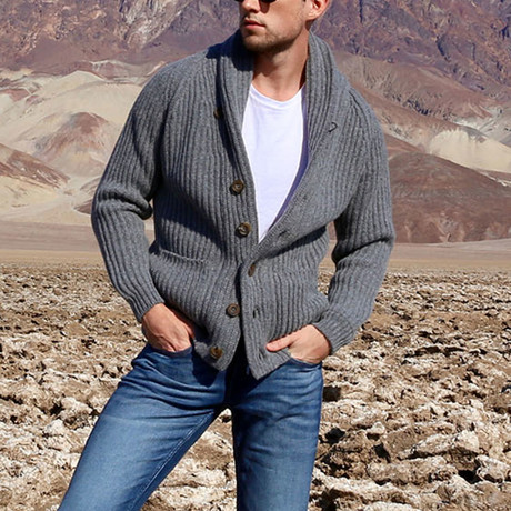 Lambswool Shawl Collar Cardigan // Gray (S)