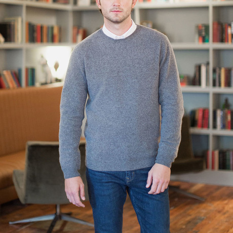 Cashmere-Wool Blend Crew Neck Sweater // Gray (S)