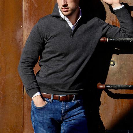 Long Sleeve Merino Wool Polo Sweater // Charcoal (S)