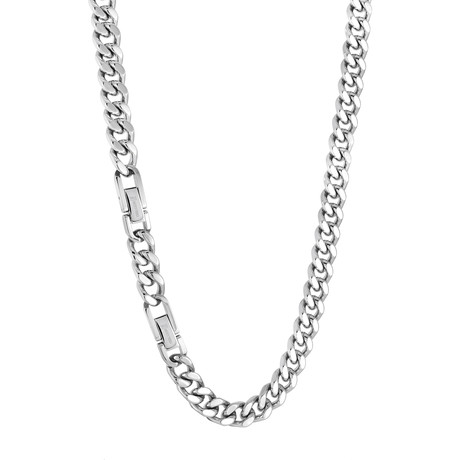 Stainless Steel Curb Link Necklace // Silver