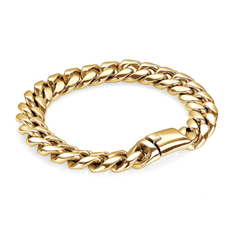 Stainless Steel Cuban Link Push Clasp Bracelet // 12mm // Gold
