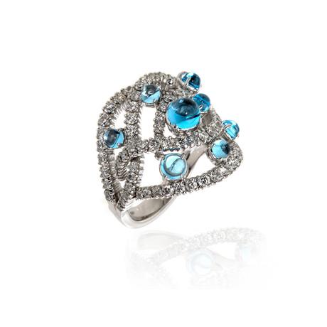 Damiani 18k White Gold Diamond + Topaz Ring // Ring Size: 7 // Store Display