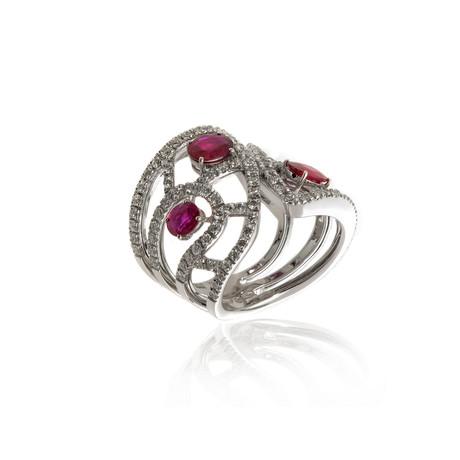 Damiani Battito D'ali 18k White Gold Diamond + Ruby Ring // Ring Size: 6.75 // Store Display