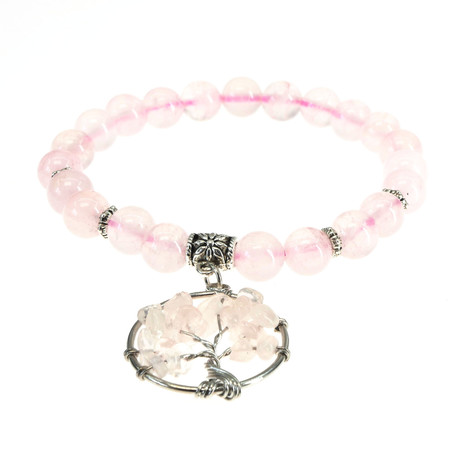 Jean Claude Jewelry // Quartz Tree of Life Bracelet // Pink