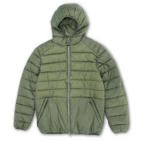 Puffy Quilted Jacket + Color Lined Hood // Matte Loden + Black (S)