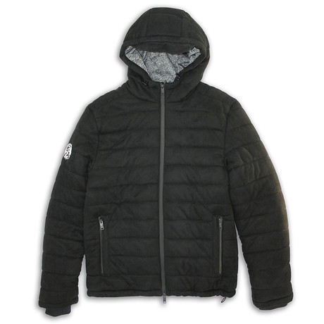 Suede Finish Zip-Front Puffy Quilted Jacket // Black (S)