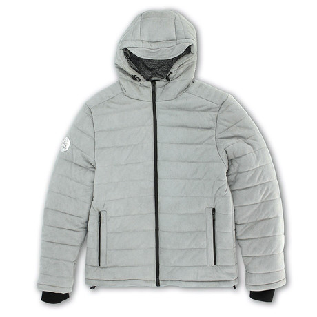 Suede Finish Zip-Front Puffy Quilted Jacket // Echo Gray (S)