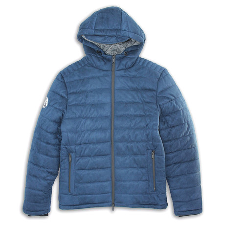 Suede Finish Zip-Front Puffy Quilted Jacket // Catamaran Navy (S)