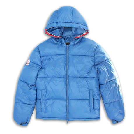 Tri-Color Kangol Taping Shiny Finish Zip-Front Puffy Jacket // Deep Ocean (S)