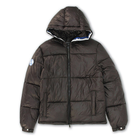 Tri-Color Kangol Taping Shiny Finish Zip-Front Puffy Jacket // Black (S)