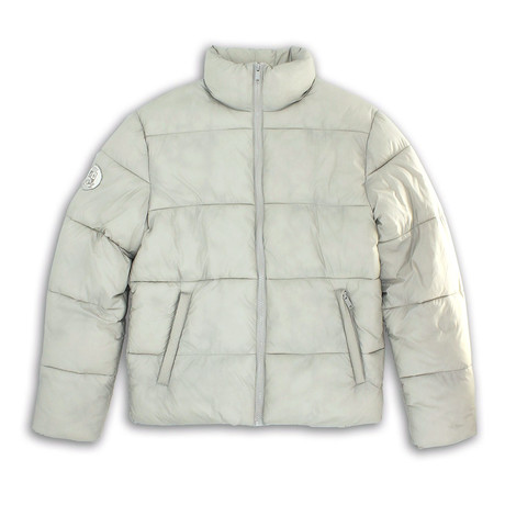 Mock Collar Matte Finish Quilted Zip-Front Jacket // Perma Frost (S)