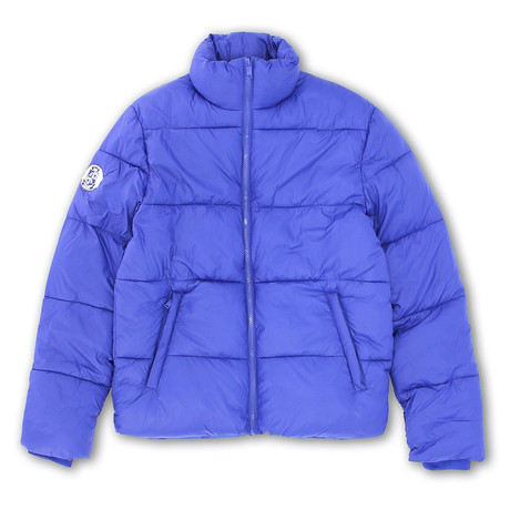 Mock Collar Matte Finish Quilted Zip-Front Jacket // Blue Ensign (S)