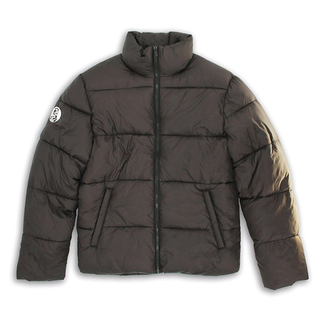 Mock Collar Matte Finish Quilted Zip-Front Jacket // Black (S)