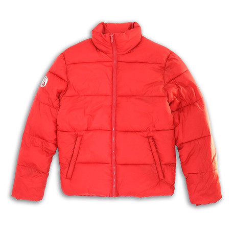 Mock Collar Matte Finish Quilted Zip-Front Jacket // Laylow Red (S)