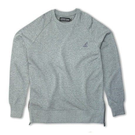 Side Zip French Terry Popover Crewneck // Gray Mel (S)