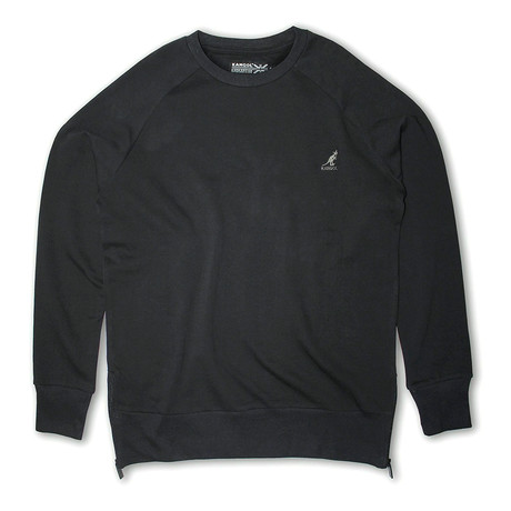 Side Zip French Terry Popover Crewneck // Black (S)