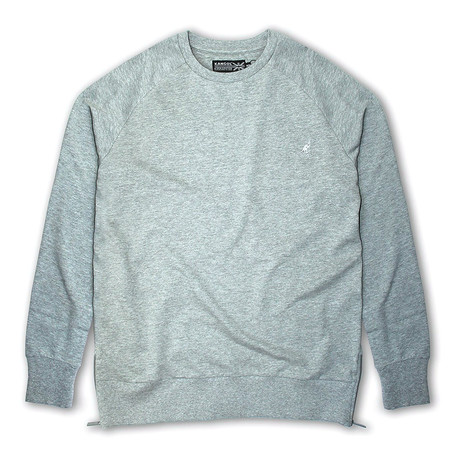 Side Zip French Terry Popover Crewneck // Light Gray Mel (S)