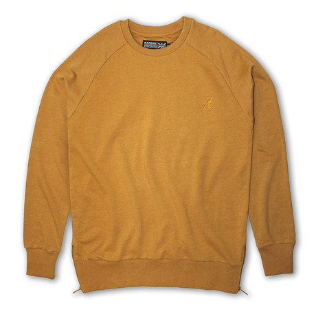Side Zip French Terry Popover Crewneck // Mustard (S)