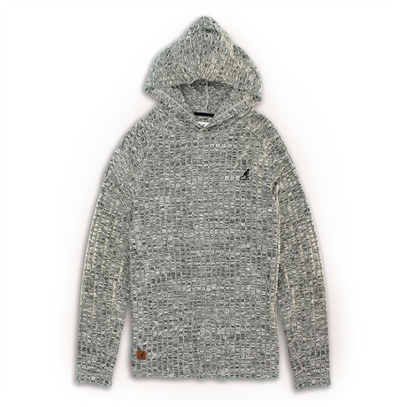 Ribbed Knit Hoodie Sweater // Gray (S)