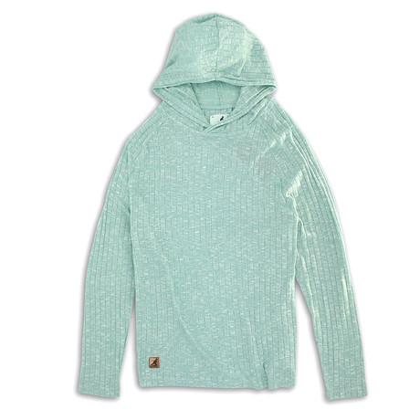 Ribbed Knit Hoodie Sweater // Waterspout (S)