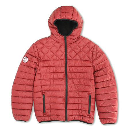 Sherpa Lined Hooded Puffy Quilted Jacket // Red Bitters (S)