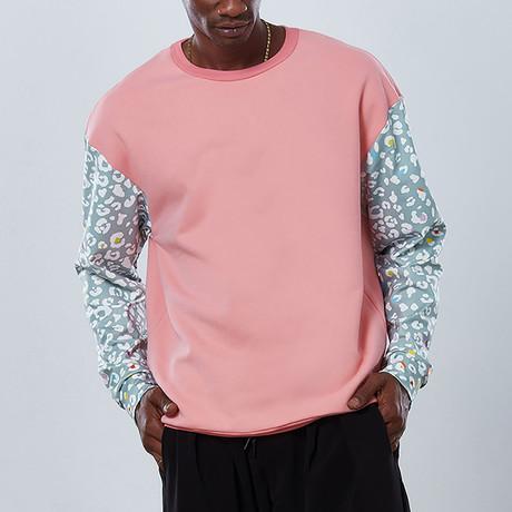 Cheetah Sleeve Sweatshirt // Pink (S)