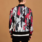 Camo Bomber Jacket // Red + Gray (S)