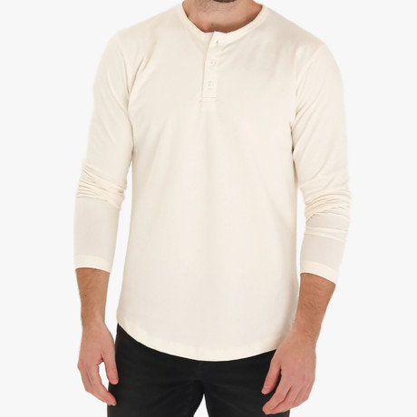 Long Sleeve Curve Henley // Cream (S)
