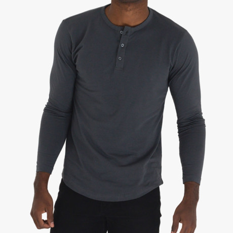Long Sleeve Curve Henley // Charcoal (S)