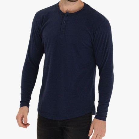 Long Sleeve Curve Henley // Midnight (S)