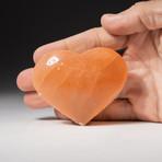 Genuine Natural Orange Selenite Heart + Acrylic Display Stand