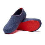 Yew House Slipper // Navy + Red Stitching + Red Sole (Euro: 38)