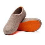 Yew House Slipper // Beige + Orange Stitching + Orange Sole (Euro: 40)