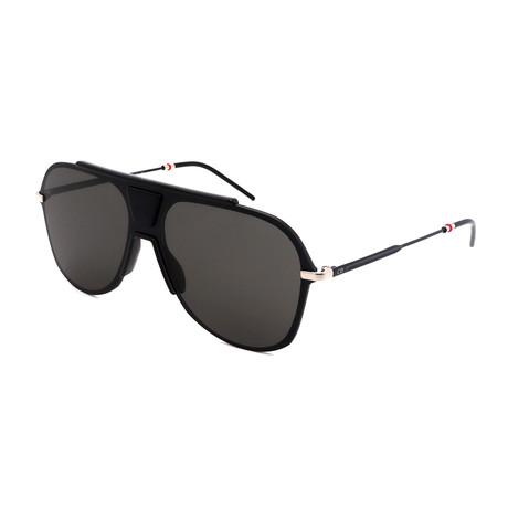 Men's 0224S-06W Aviator Sunglasses // Black + Ruthenium Gray