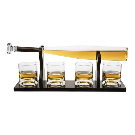 Baseball Bat Whiskey Decanter Set // Decanter + 4 Baseball Glasses