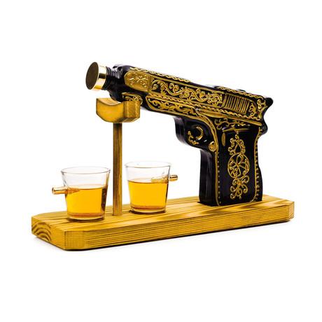 Pistol Whiskey Decanter Set // Decanter + 2 Shot Glasses
