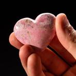 Genuine Polished Pink Rhodonite Heart + Acrylic Display Stand