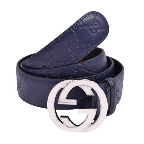 "Gucci Belt // Navy + Silver (36"")"