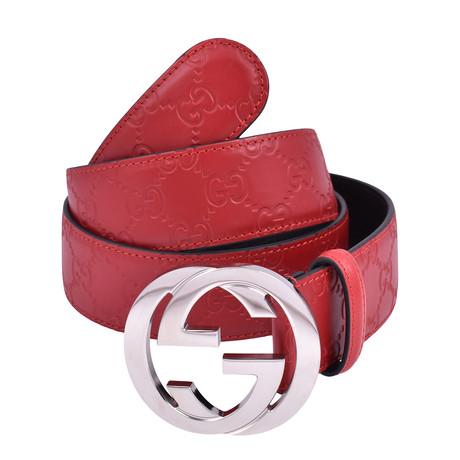 "Gucci Belt // Red + Silver (36"")"